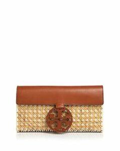 Tory Burch Miller Rattan & Leather Clutch