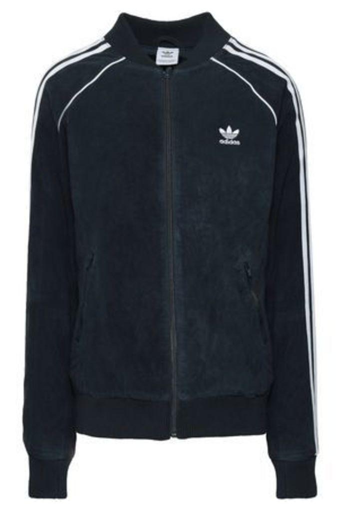 Adidas Originals Woman Suede Track Jacket Midnight Blue Size 40