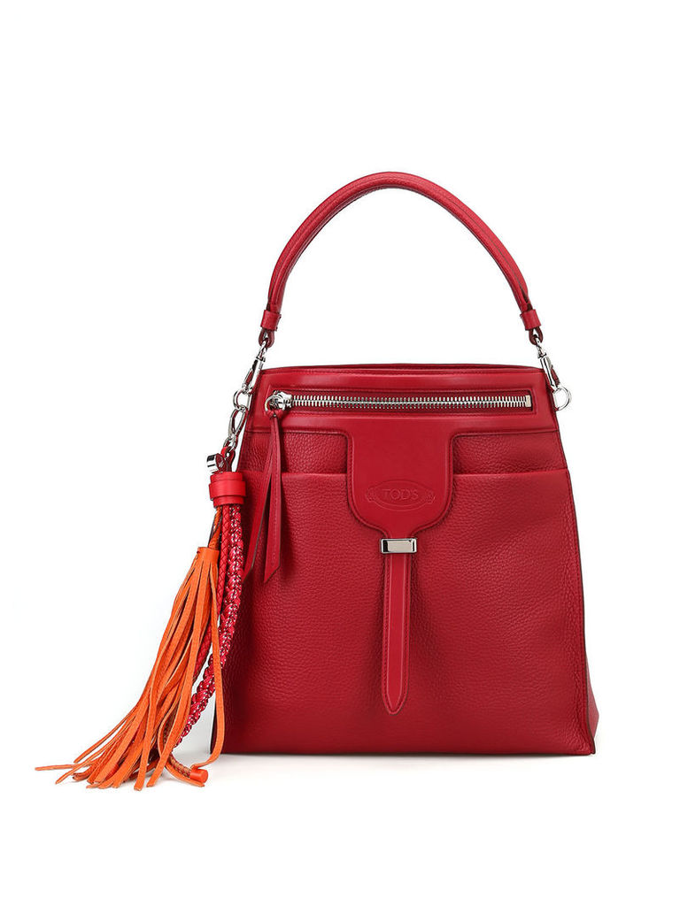 Tod's Thea Hobo Maxi Tassel Detailed Leather Bag