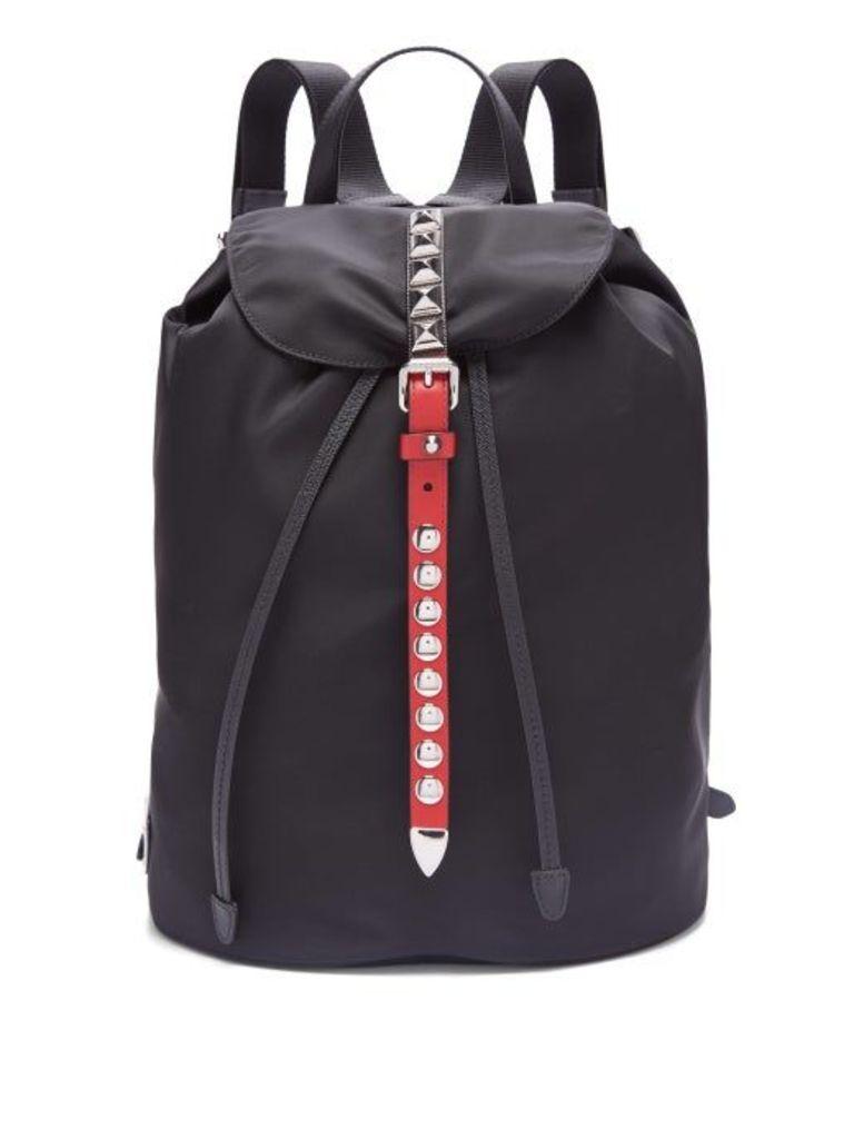 Prada - New Vela Studded Nylon Backpack - Womens - Black Red