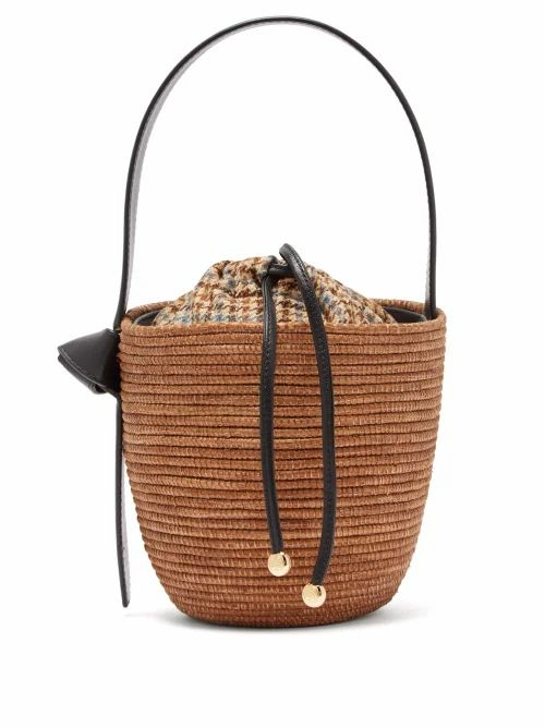 Cesta Collective - Leather Handle Sisal Basket Bag - Womens - Brown Multi