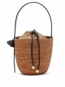Cesta Collective - Leather Handle Sisal Basket Bag - Womens - Brown Multi