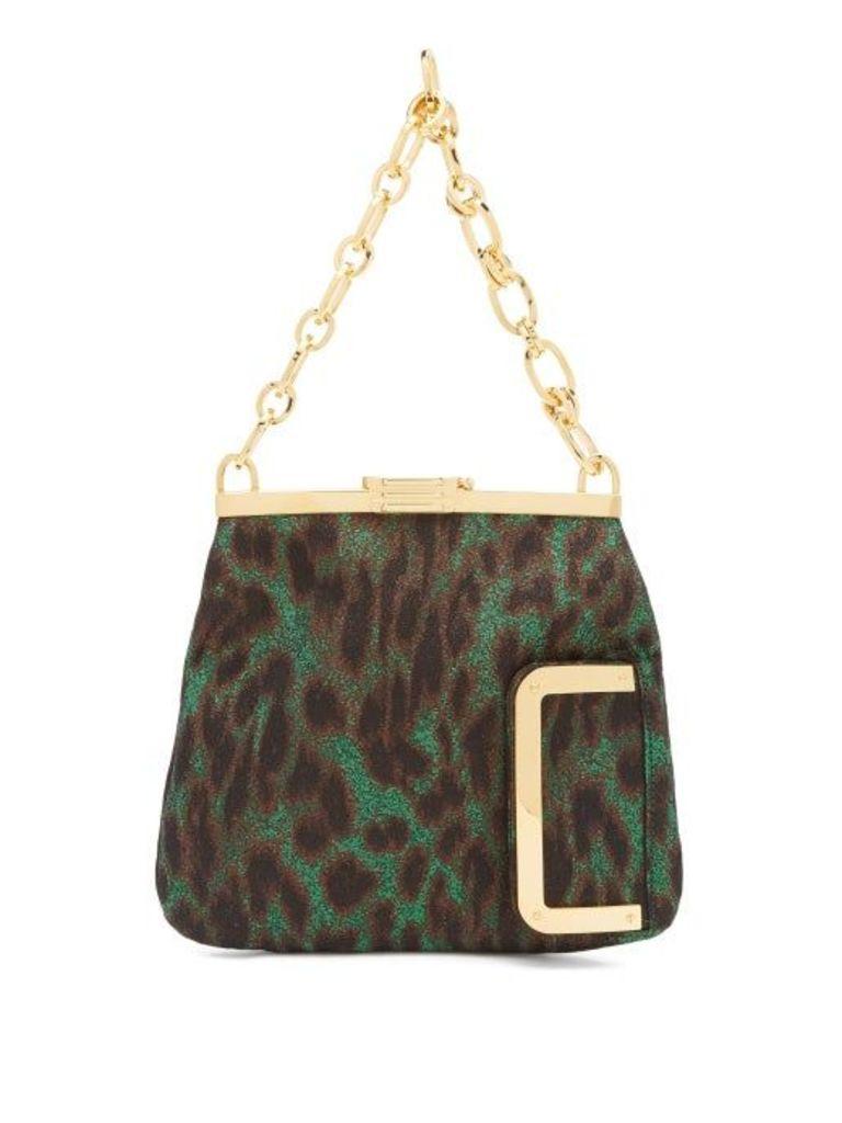 Bienen-davis - 4am Leopard Lamé Clutch - Womens - Green Multi