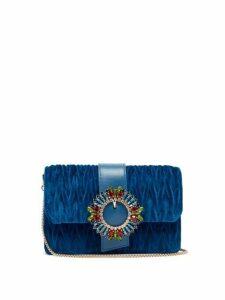 Miu Miu - Matelassé Velvet Cross Body Bag - Womens - Blue