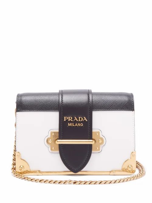 Prada - Cahier Leather Cross Body Bag - Womens - Black White
