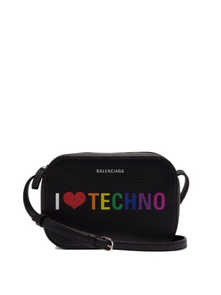 Balenciaga - I Love Techno Everyday Camera Xs Leather Bag - Womens - Black Multi