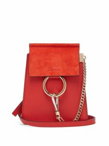 Chloé - Faye Mini Suede Panel Leather Cross Body Bag - Womens - Red
