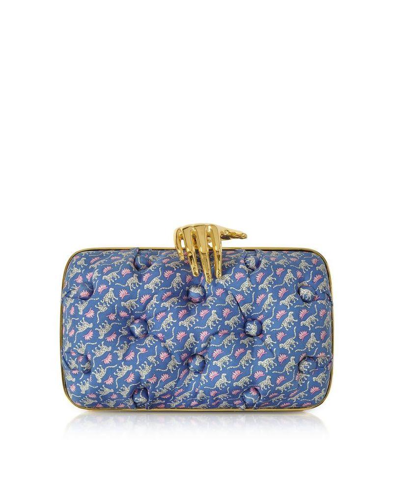 Benedetta Bruzziches Leopards Printed Blue Satin Silk Carmen Clutch W/ Golden Hand