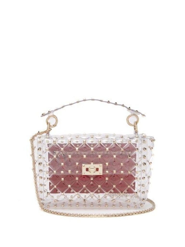 Valentino - Rockstud Quilted Pvc Shoulder Bag - Womens - Clear