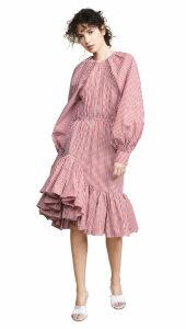 Anais Jourden Gingham Asymmetric Midi Dress