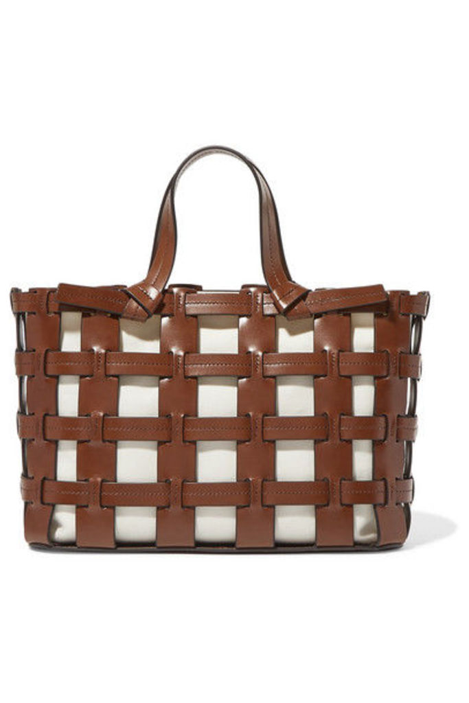 Trademark - Frances Caged Leather And Canvas Tote - Tan