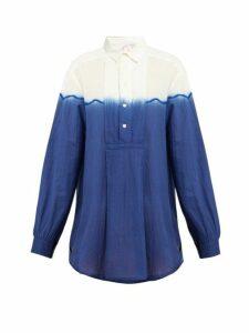 Kilometre Paris - Dip Dyed Cotton Shirt - Womens - Blue