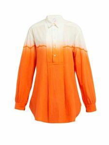 Kilometre Paris - Dip Dyed Cotton Shirt - Womens - Orange