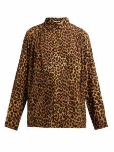 Mes Demoiselles - Feline Leopard Print Cotton Blouse - Womens - Leopard