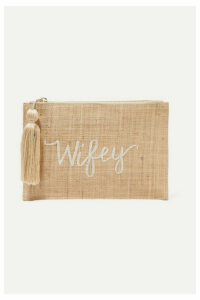 Kayu - Wifey Embroidered Woven Straw Pouch - Sand