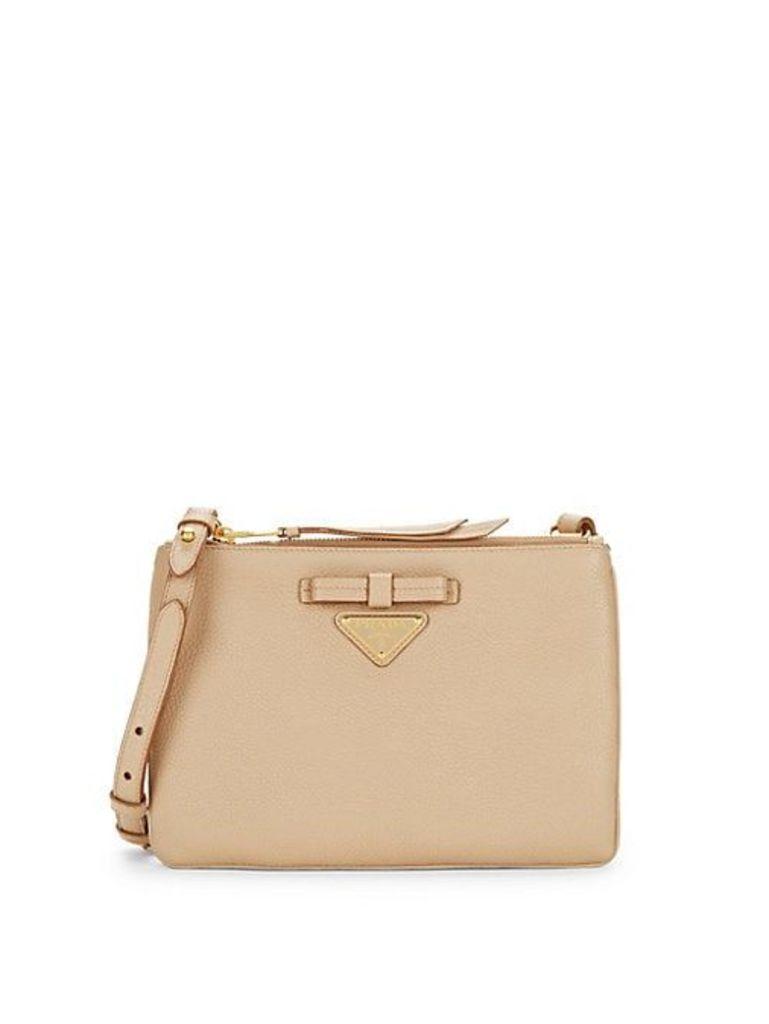 Leather Bow Logo Crossbody Bag