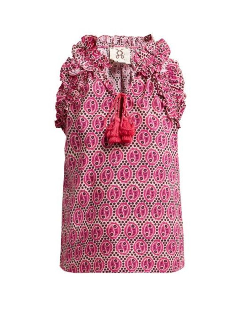 Figue - Fabiana Geometric Print Cotton Top - Womens - Pink