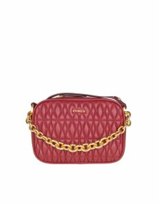 Furla Mini Cometa Bag In Leather Effect Quilted Cherry Color