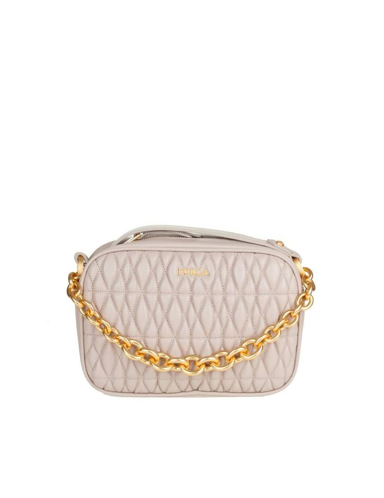 Furla Mini Cometa Bag In Leather Effect Quilted Pink