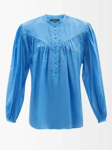 Rhode - Eva Smocked Off The Shoulder Cotton Dress - Womens - Red