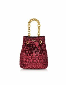 Furla Quilted Velvet Stacy Cometa Mini Drawstring Bucket Bag