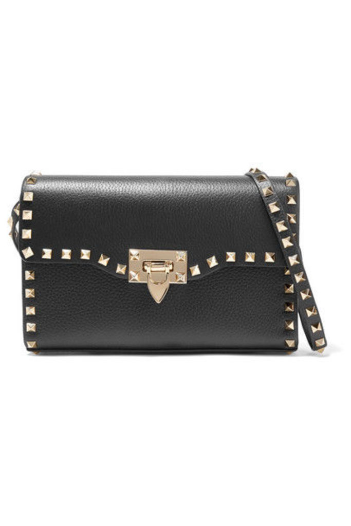 Valentino - Valentino Garavani The Rockstud Small Textured-leather Shoulder Bag - Black