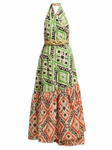 Love Binetti - I Go Around Cotton Maxi Dress - Womens - Orange Print