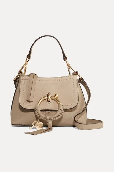 See By Chloé - Joan Mini Textured-leather And Suede Shoulder Bag - Gray