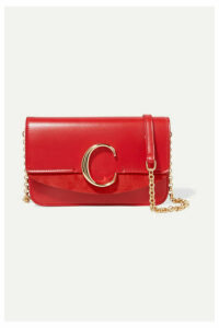 Chloé - Chloé C Mini Suede-trimmed Leather Shoulder Bag - Red