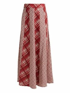 D'ascoli - Havana Patchwork Print Cotton Skirt - Womens - Red Print