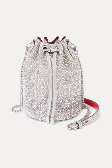 Christian Louboutin - Marie Jane Crystal-embellished Suede And Leather Bucket Bag - Silver