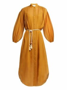Zimmermann - Wayfarer Crinkled Cotton And Silk Blend Midi Dress - Womens - Yellow