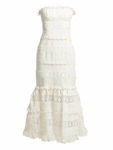 Zimmermann - Wayfarer Strapless Cotton And Lace Midi Dress - Womens - Ivory