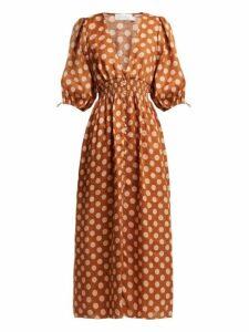 Zimmermann - Primrose Shirred Polka Dot Linen Dress - Womens - Tan Print