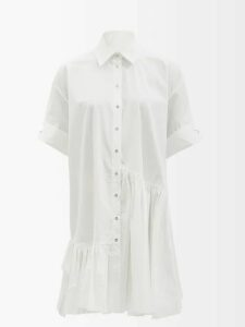 Merlette - Lante Gathered V Neck Cotton Midi Dress - Womens - Black