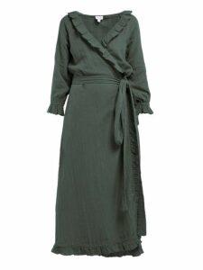 Rhode - Jagger Ruffled Cotton Gauze Wrap Dress - Womens - Green