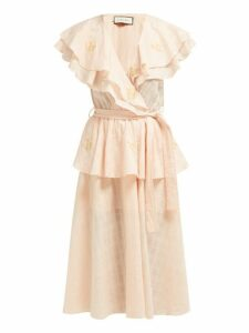 Innika Choo - Rose Embroidered Cotton Voile Midi Dress - Womens - Pink Multi