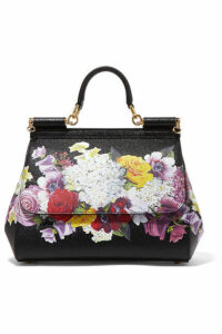 Dolce & Gabbana - Sicily Medium Floral-print Textured-leather Tote - Black