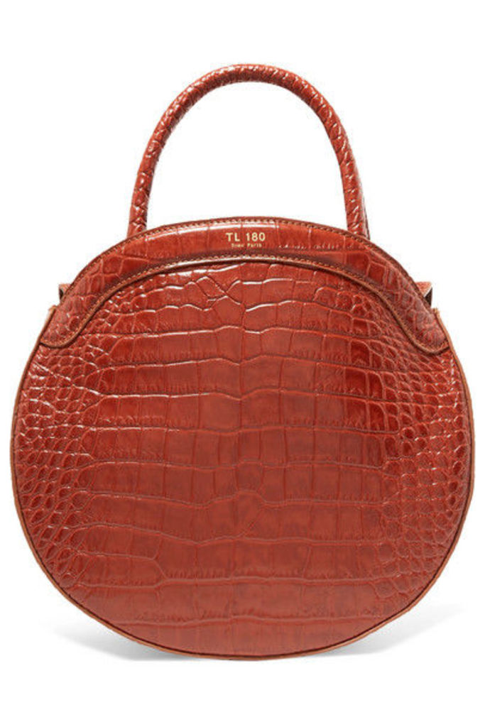 TL-180 - Panier Croc-effect Leather Tote - Brown