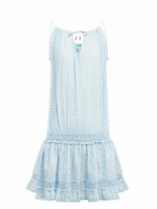 Melissa Odabash - Chelsea Embroidered Cotton Mini Dress - Womens - Blue Print