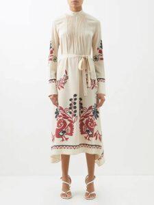Rhode - Ella Floral Print Cotton Mini Dress - Womens - Red Multi