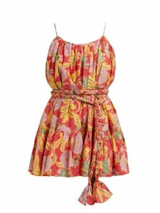 Rhode - Nala Belted Floral Print Cotton Dress - Womens - Red Multi