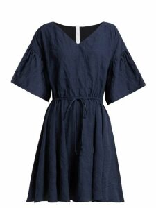 Merlette - Drawstring Waist Cotton Mini Dress - Womens - Indigo