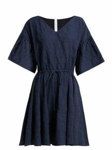 Merlette - Drawstring-waist Cotton Mini Dress - Womens - Indigo