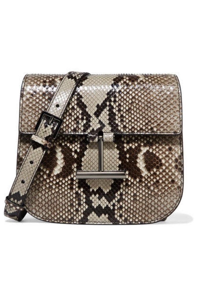 TOM FORD - Tara Mini Python Shoulder Bag - Dark gray