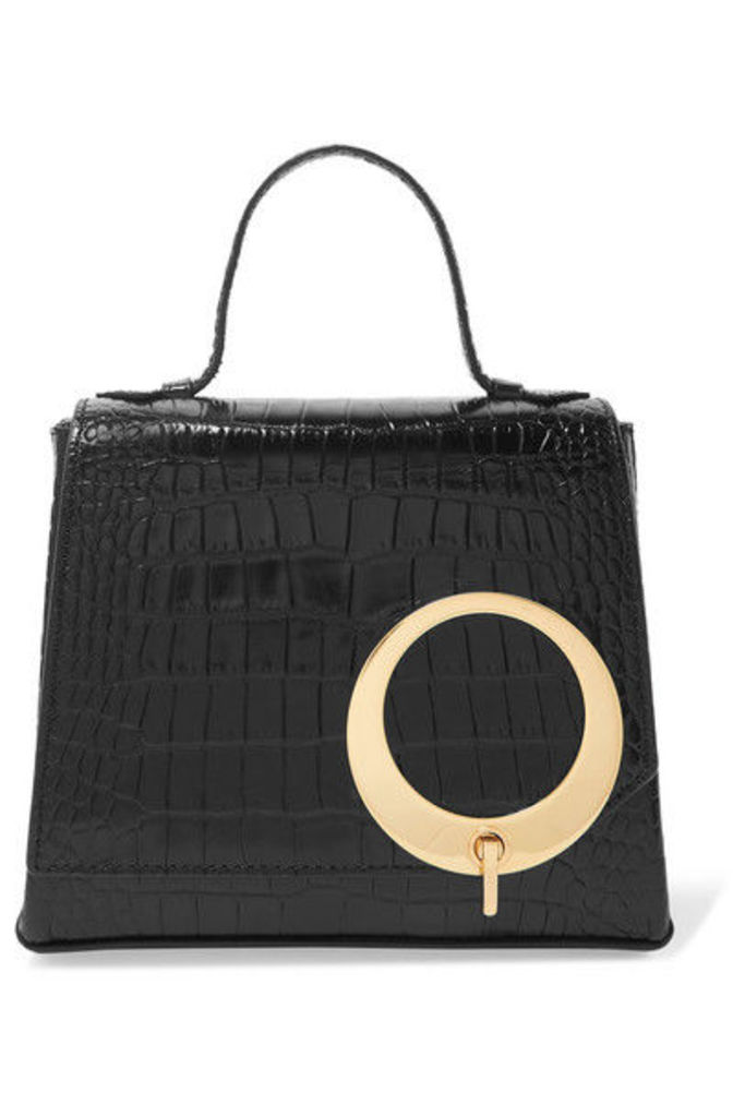 Trademark - Harriet Small Croc-effect Leather Tote - Black