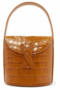BY FAR - Nick Croc-effect Leather Shoulder Bag - Tan