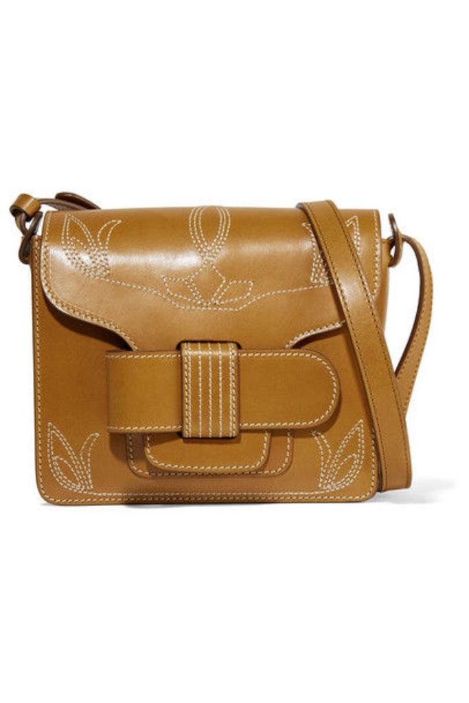 Trademark - Greta Embroidered Leather Shoulder Bag - Tan
