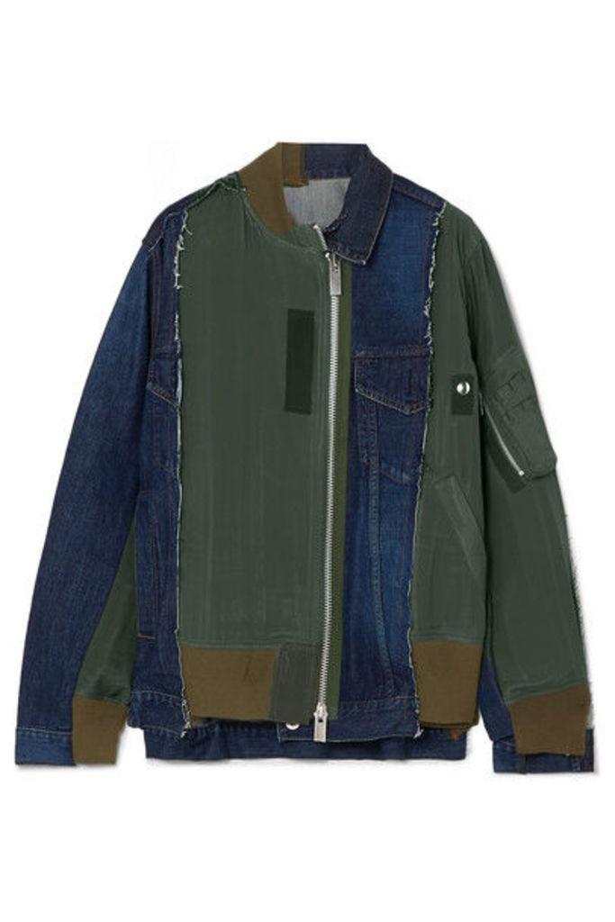 Sacai - Paneled Denim And Shell Jacket - Blue