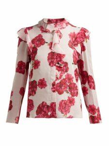 Giambattista Valli - Floral Print Silk Georgette Blouse - Womens - Ivory Multi